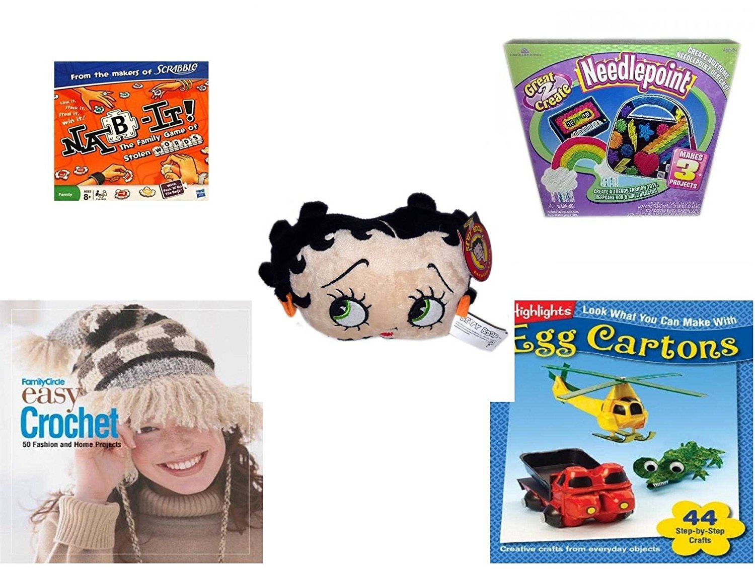 "Girl's Gift Bundle - Ages 6-12 [5 Piece] - Nab-It. - Great 2 Create Needlepoint Makes 3 Projects. Toy - KellyToy Betty Boop Head Plush 7"" - Family Circle Easy Crochet: 50 Fashion and Home Projects H"