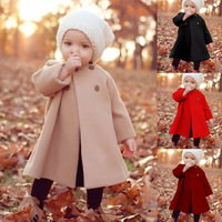 S50946A autumn Baby Girls Long Sleeve Coat Jacket long outwear