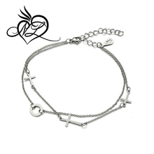 Stainless Steel Double Chain Anklet Bracelet with Cross and Circle