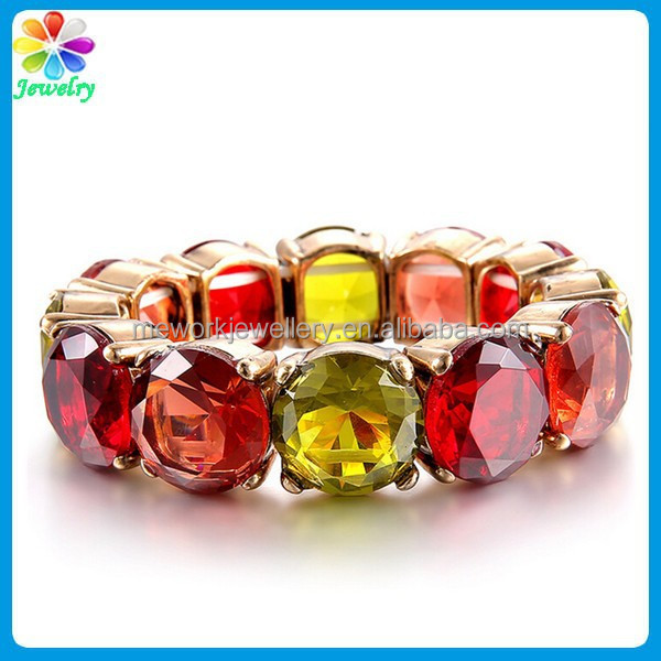 New Design Austrian Crystal Ruby Jewels Adjustable Yellow Crystal Bracelet