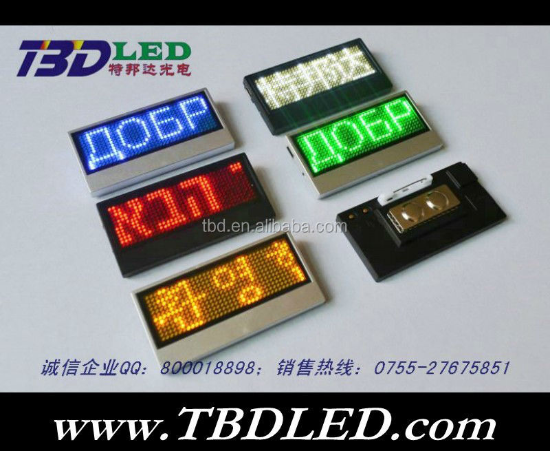 Mini LED name tag /led scrolling message mini display/digital name tag