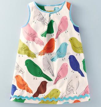8e65b25de664 2017 Cute Trendy Bird Printing Dress Lovely Girls Cotton Dress - Buy ...