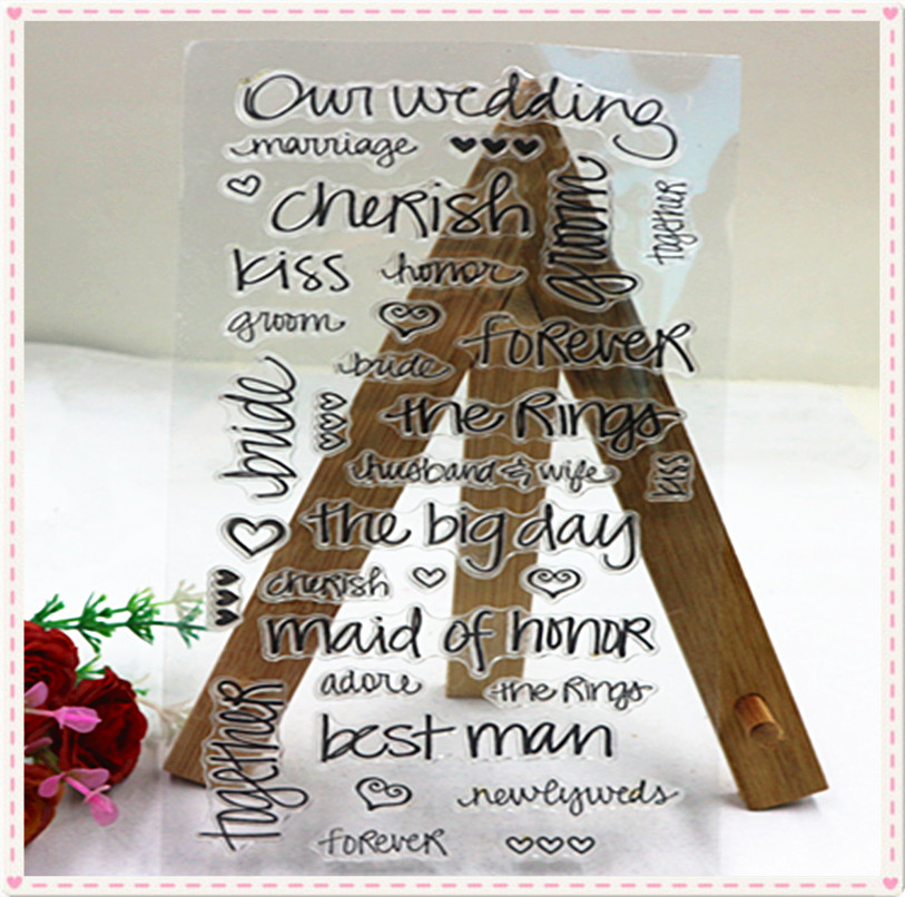 the wedding theme alphabet number custom rubber stamp