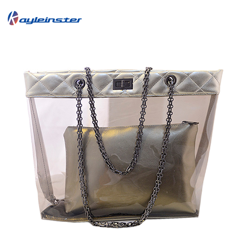 New 2015 Summer PVC Women Handbag Transparent Beach Shoulder Bag PU Panelled Composite Bag Jelly Bag Chain Fashion Women Handbag