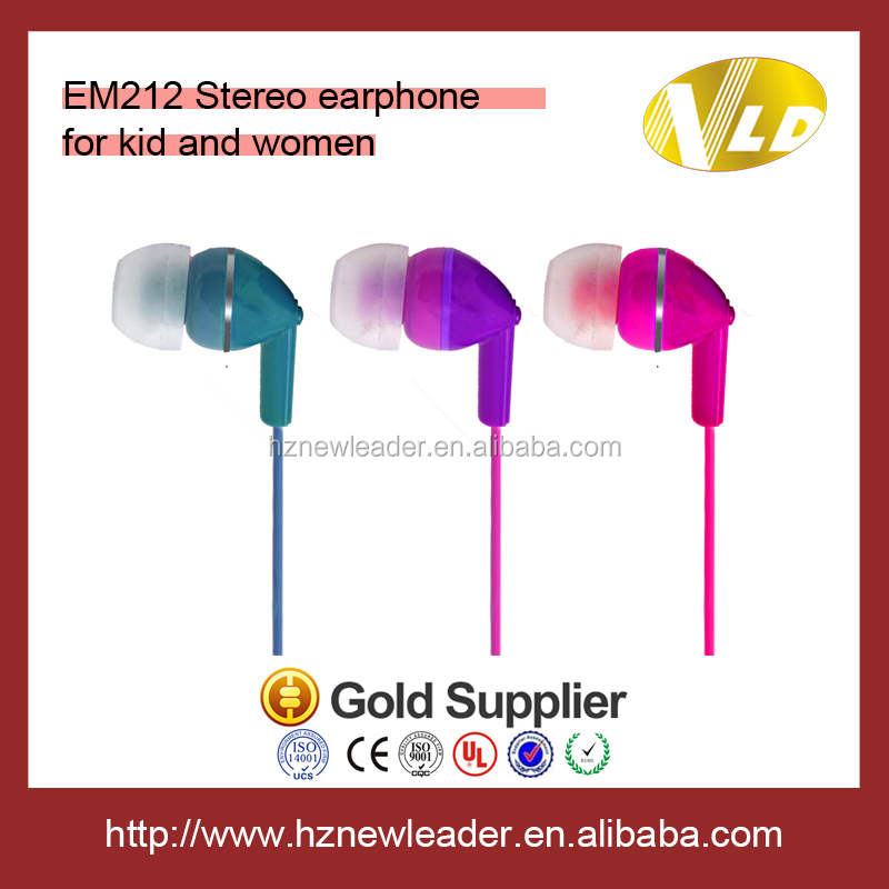 Colorful Kids earphone plastic earbud for gift