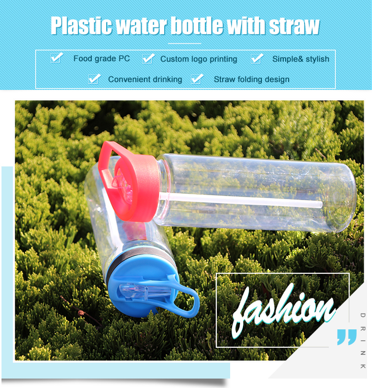 Cycling plastic sports drinking bottle flip straw water bottle