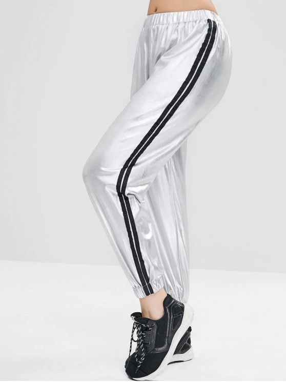 KY middle waist shiny silver Striped Metallic elastic jogger pants Sweatpants