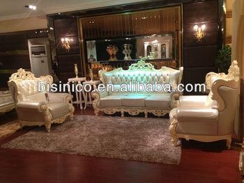 Antique White Royal Sofa Set European Style Living Room Furniture