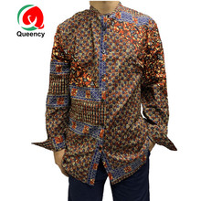 Queency Nieuwe Collectie Mode Afrikaanse <span class=keywords><strong>Dashiki</strong></span> Lange Mouw Top Mannen Ankara Prints <span class=keywords><strong>Shirt</strong></span>