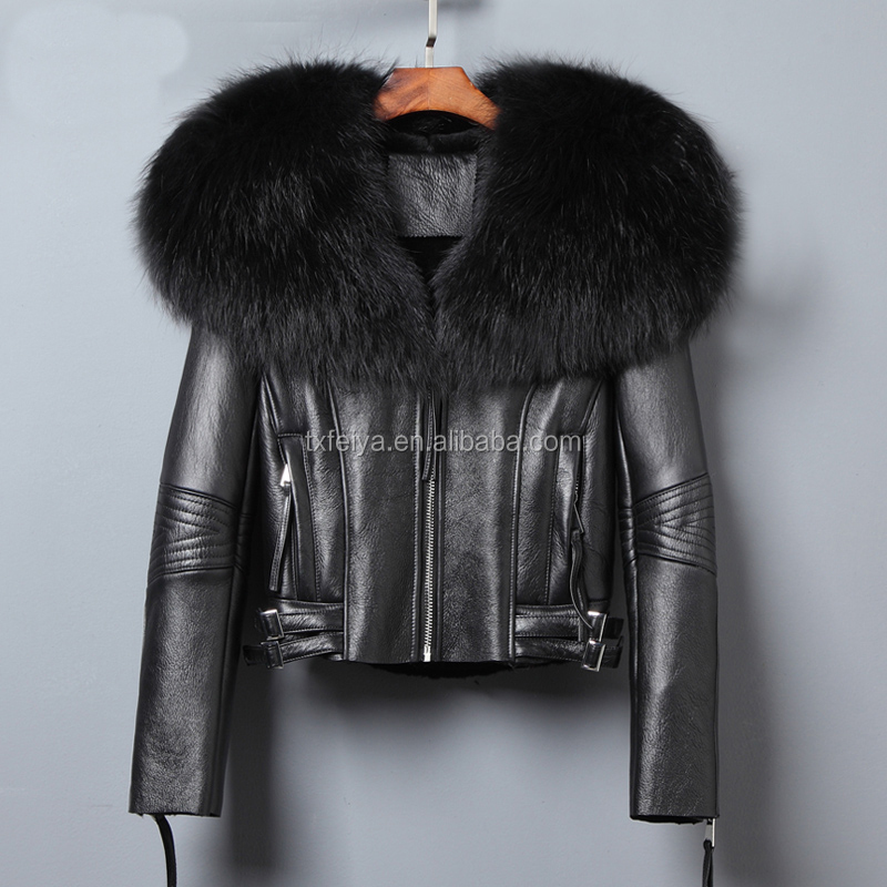 Women's Shearling Sheepskin Leather Jacket Designer Winter Fur Coat