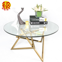 dubai office golden glass top stainless steel frame metal coffee table base
