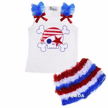 Red White Royal Blue Ruffles Shorts with Star Pirate White Tank Top