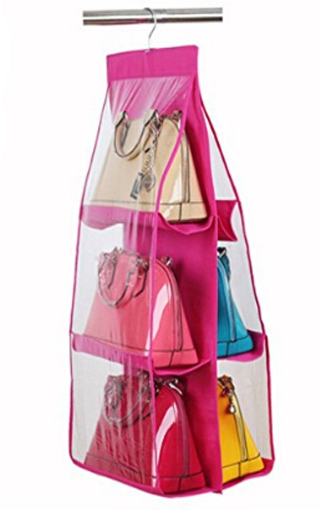 Get Quotations · 6 Pockets Hanging Closet Organizer Clear Easy Accees  Anti Dust Cover Handbag Purse Holder Storage
