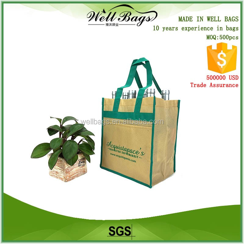 custom supermarket reusable non woven fabric 6 bottles Wine beer tote Bag Outside pocket without closure alibaba trade assurance