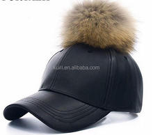 Fashion Leather Made Spring Rhombus Shaped Men Cricket Cap with Real Raccoon Fur Pom Pom