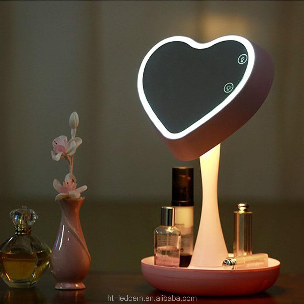 einzigartiges design herzform led spiegel tischlampe led. Black Bedroom Furniture Sets. Home Design Ideas