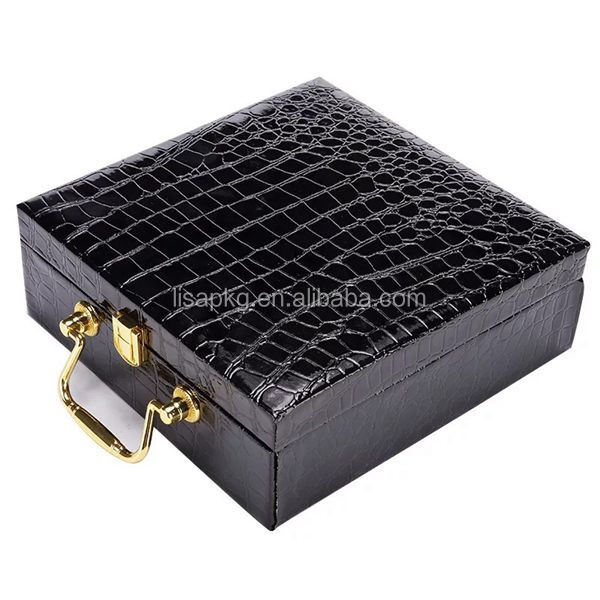 Black alligator leather hinges wooden keepsake box lock with handle