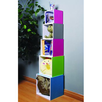 Wood Wall Mount Stackable Bookcase Cube Set