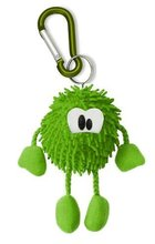 mini green plush keychain toy with carabiner for promotional purpose