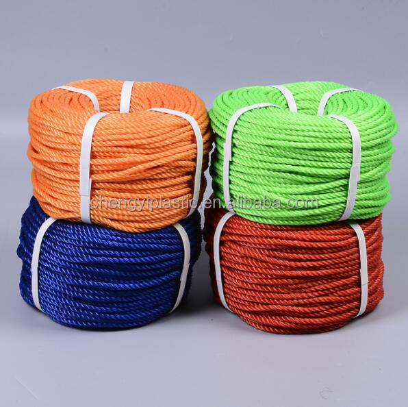 PP PE 3 Strands 3mm - 40mm Colored Twisted Plastic Rope