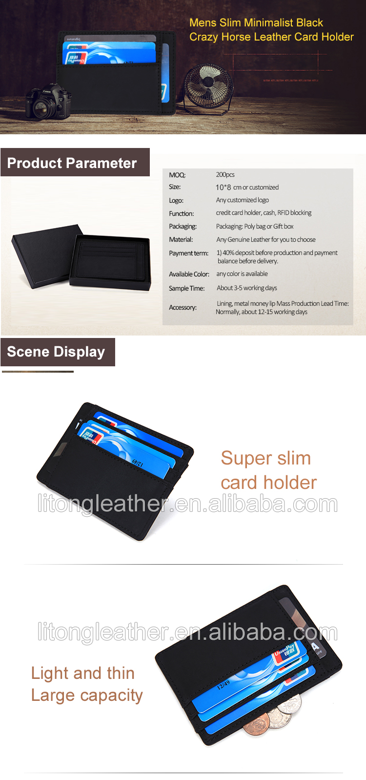 bc222da28011 New design RFID blocking black crazy horse leather business card wallet id card  holder with coin