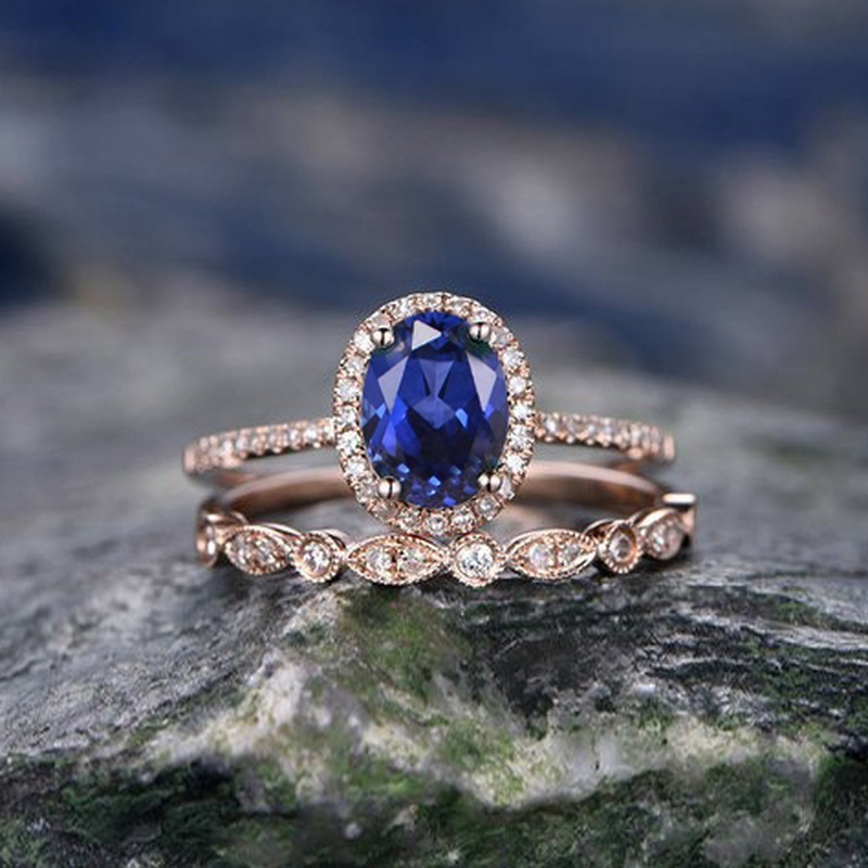 CAOSHI Rose Gold Ring Set Blue Stone Rings Jewelry Bague Femme Anillos Bridal Fashion Women Ring Set фото
