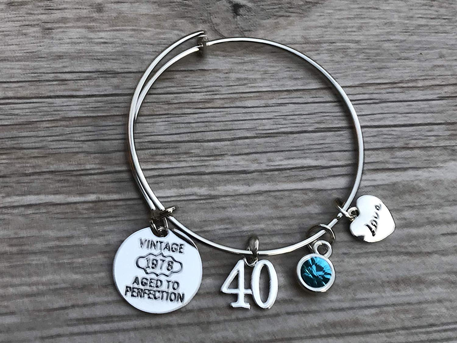 Personalized 40th Birthday Gifts For Women With Birthstone Charm Custom Expandable Bracelet