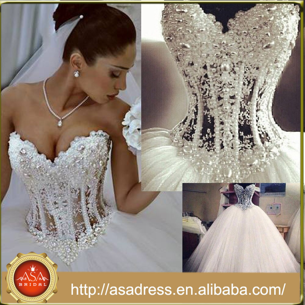 Abs-026 Ball Gown Wedding Party Gowns 2016 Romantic Sweetheart Neck ...