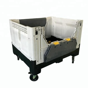 Garment industry use Heavy duty 700l foldable solid plastic pallet container storage