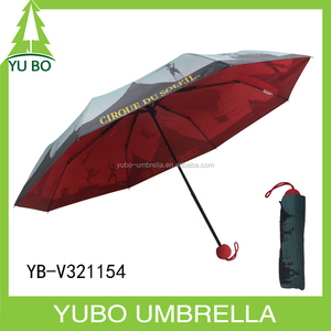 three fold fashion brand 4 color full print double layer umbrella with red ball shape EVA handle from xiamen umbrella supplier