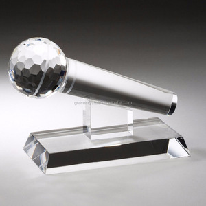 Decorative clear crystal microphone trophy