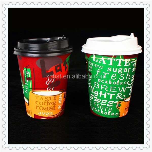210gsm to 320gsm 9oz hot coffee paper cup lid popular custom printed paper coffee cup with cliet paper cup design