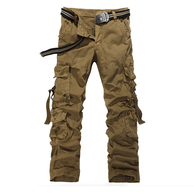 ad6ed2476a8 Get Quotations · High Quality Mens Cargo Pants Multi Pockets Khaki Black Army  Green Grey Baggy Military Pants For