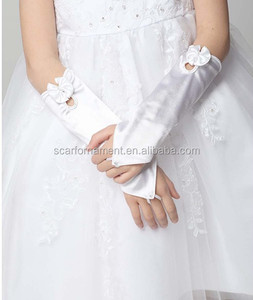 Factory Wholesale Kids Satin Fingerless Gloves Cute Pink Or White Opera Long Gloves With Bows For Wedding Dress Or Party wear