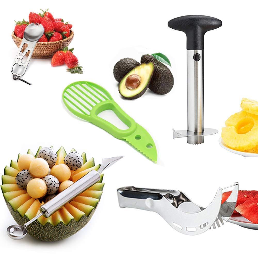 Happlee 5Pcs Stainless Kitchen Tools Fruit Slicer Kit -Pineapple De-Corer Peeler, Avocado Slicer, Watermelon Slicer, Carving Knife&Melon Baller Scoop, and Tablespoon (Random Color for Spoon)