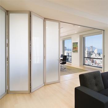 Commercial Office Folding Doors Design Frost Glass Aluminum ...