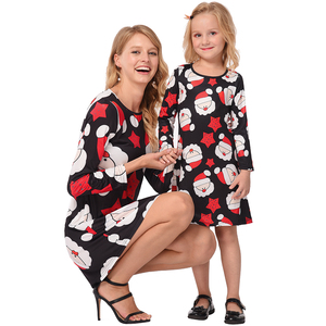 Wholesale mom and my boutique dress dress design printed Christmas costume mother and daughter matching dress