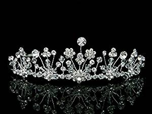 Handmade Bridal Flower Rhinestones Crystal Wedding Crown Tiara T608