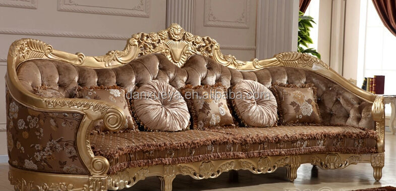 Exceptional Golden European King Imperial Real Leather Royal Style Sofa