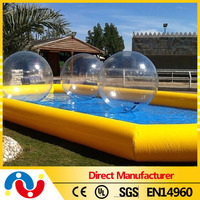 2015 Top Best quality customized size pvc inflatable soccer pool water swimming pool with water ball