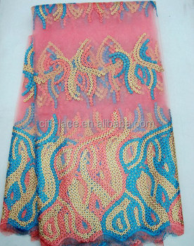 J423 Exported good quality african french george fabric net lace