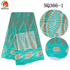 NQ366 Queency High Quality Organic Cotton French Lace Fabric Nigerian Wedding Aso Ebi Styles