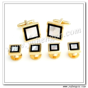 MOP and Onyx Stone Tuxedo Studs,Cufflinks and Studs Set