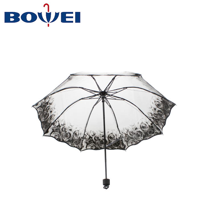 Manual 21inch rainproof clear rose rim poe plastic cheap price promotional mini compact 3 fold transparent umbrella clear
