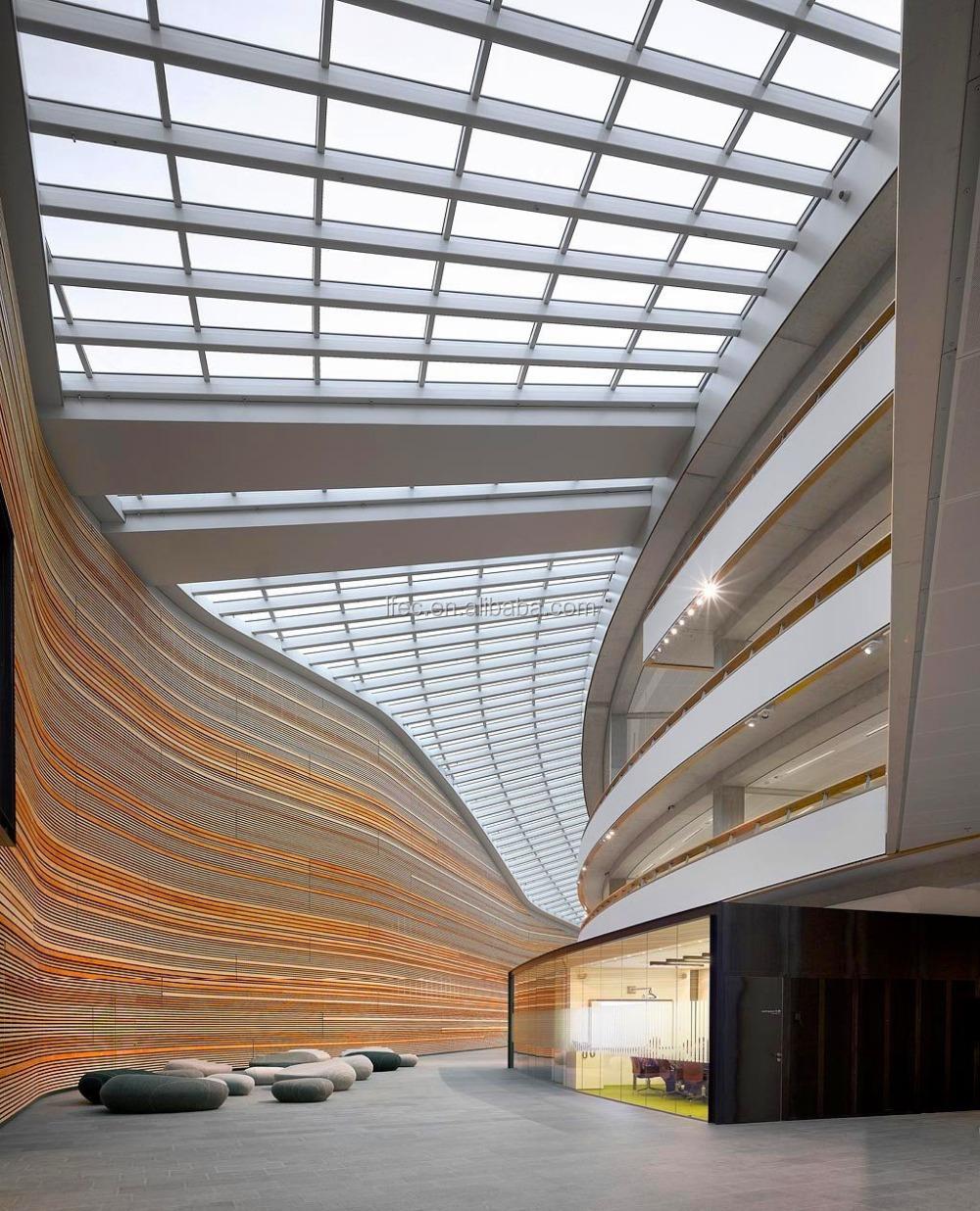 Long Span Prefabricated Glass Atrium Roof Light Steel
