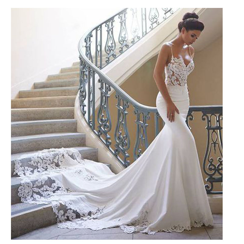 FA102 Mermaid Wedding Dress Dài Tay Áo 2019 Vestidos de novia Ren Cổ Điển Sweetheart Cổ Bridal Gown Backless Wedding Gowns