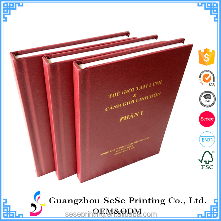 Offset Printing and Gold Foil Stamping Surface Finish Hardcover leather books