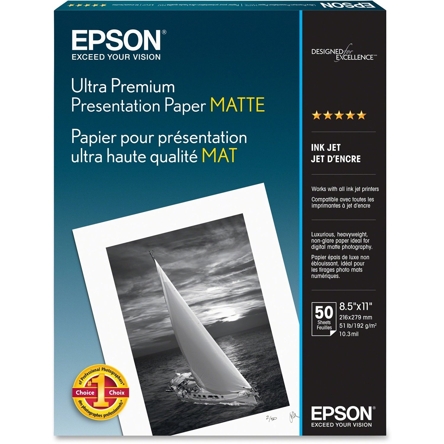"Epson Photo Paper . Letter . 8.50"" X 11"" . 192 G/M . Matte . 104 Brightness . 50 / Pack . White ""Product Type: Supplies/Printing Media"""
