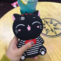 Custom Made Design Cell Phone Accessories Case Cartoon Lucky Fortune Cute Bow Cat Kitty Smartphone Cases For Iphone 6 6S 7