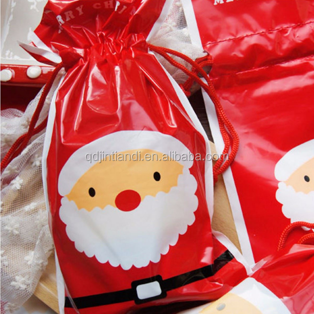 Christmas Santa Drawstring Cookies Food Bags Biscuits Xmas Candy Gift Plastic Party Self Adhesive Decoration Supplies